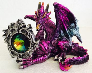 Mythical Gothic PURPLE Dragon Sit with Crystal GEMSTONE Nemesis DRG398A